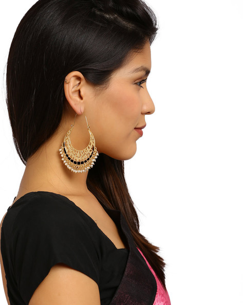 Gold-Plated Filigree Hoop Earrings By Fida ( Black )