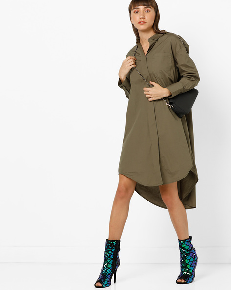 High-Low Hem Tunic Shirt By Vero Moda ( Green )