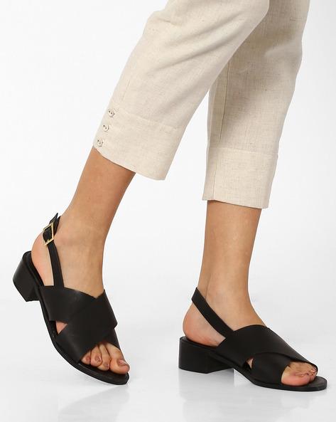 Criss-Cross Block Heeled Sandals By AJIO ( Black )