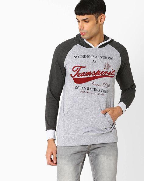 Regular Fit Hooded T-shirt By TEAM SPIRIT ( Greymelange )