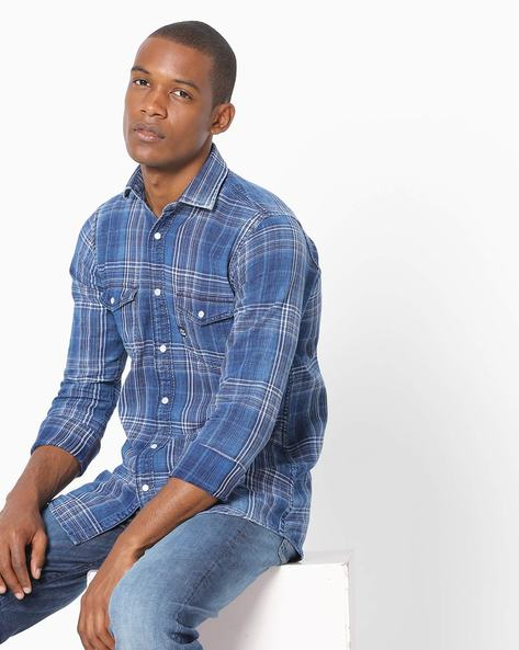 Checked Shirt With Button-Down Collar By Killer ( Blue )