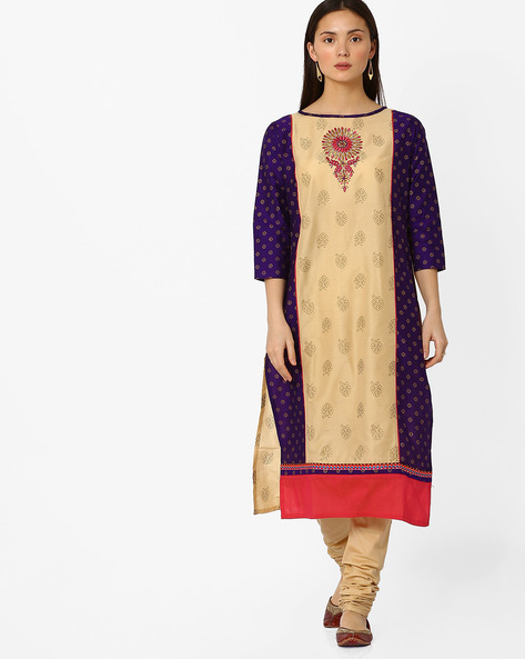 Printed Straight Kurta With Embroidery By Indian Ink ( Beige )