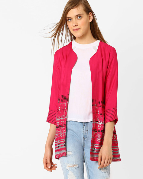 Printed Open-Front Jacket By Global Desi ( Pink )