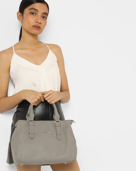 Handbag With Detachable Strap By Lino Perros ( Grey ) - 460167373001