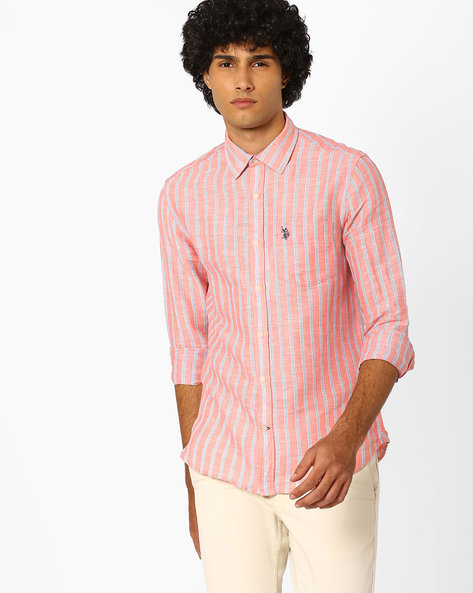 Striped Shirt With Patch Pocket By US POLO ( Assorted )