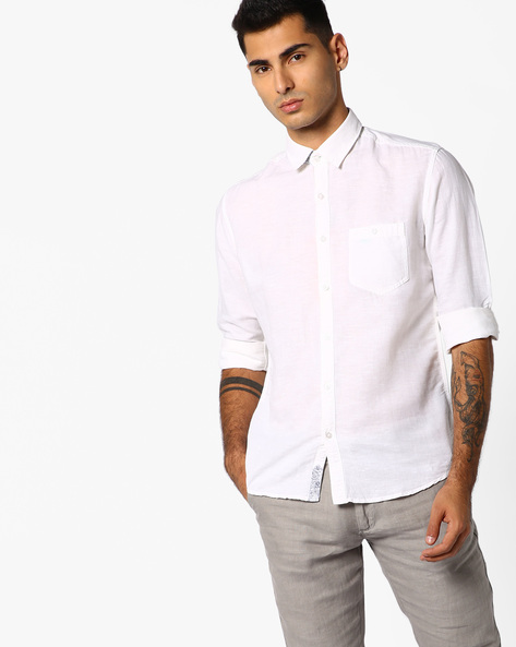 Slim Fit Shirt With Patch Pocket By Killer ( White )