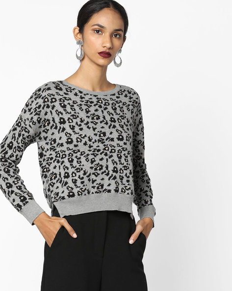 Printed Pullover With High-Low Hemline By Ginger By Lifestyle ( Grey )
