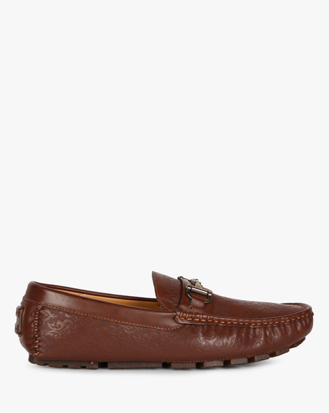 Embossed Loafers With Lugged Sole By Carlton London ( Brown )