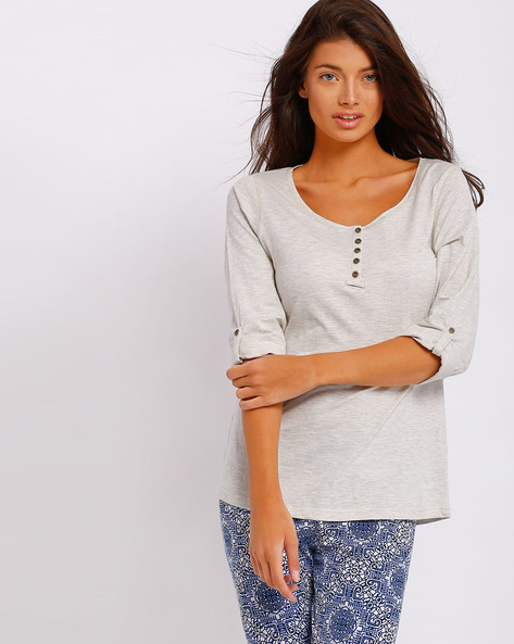Henley T-shirt With Roll-Tab Sleeves By FIG ( Assorted )