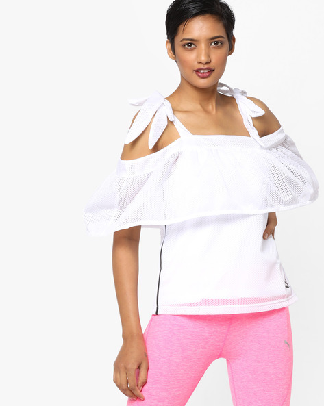 Tie-Shoulder Top With Ruffle Layer By Puma ( White )