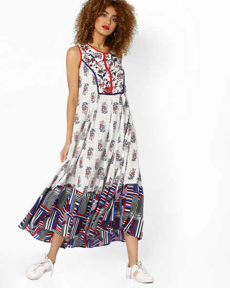 Printed Sleeveless Maxi Dress By Akkriti By Pantaloons ( White )