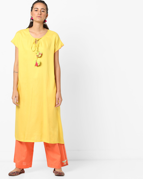 Straight Kurta With Tassel Tie-Up By AJIO ( Yellow )
