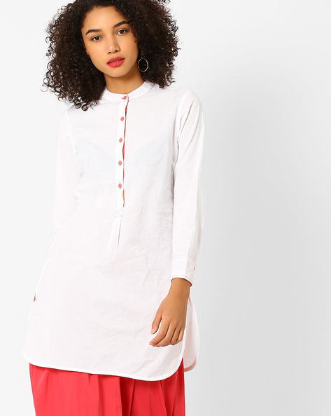 Tunic With Mandarin Collar By AJIO ( White )