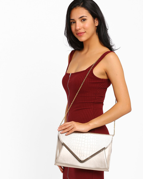 Envelope Sling Bag By AJIO ( Rosegold )