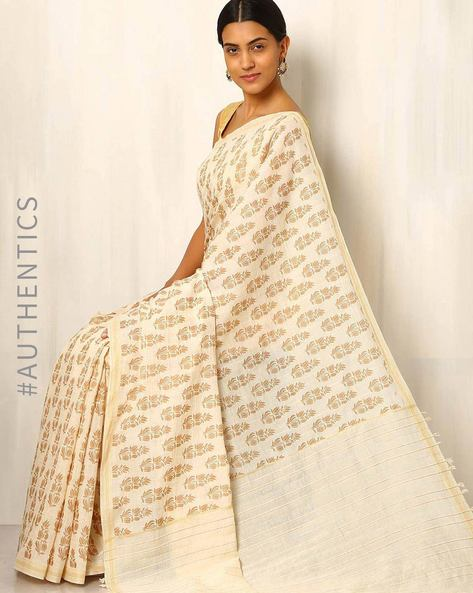 Printed Cotton Silk Saree With Ghicha Pallu By Rudrakaashe-MSU ( Multi ) - 460011245001