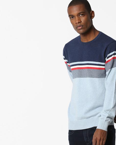 Striped Crew-Neck Sweater By Teamspirit ( Ltgrey )
