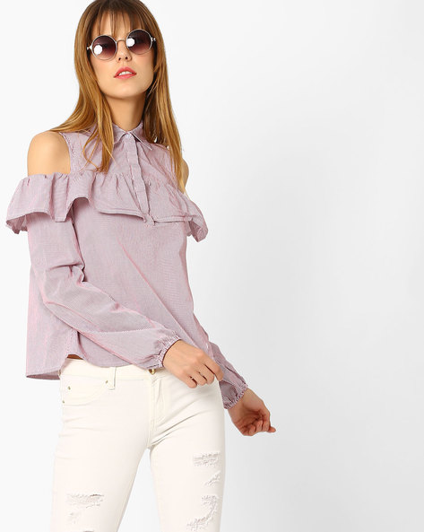 Cold-Shoulder Shirt With Ruffles By Evah London ( Red )