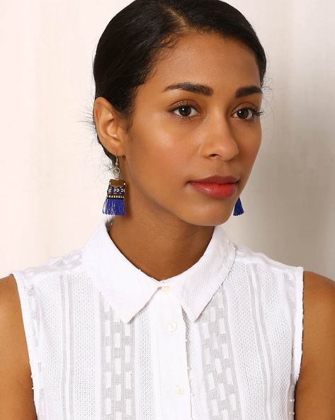Beaded Drop-Earrings With Tassels By Indie Picks ( Blue ) - 460042537001