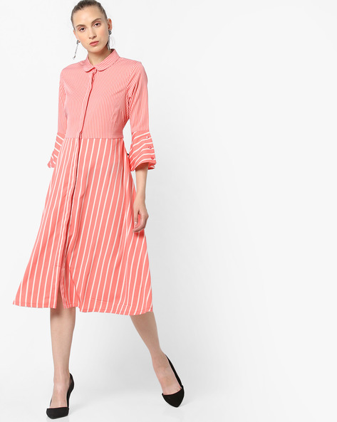 Striped Shirt Dress By AJIO ( Coral )