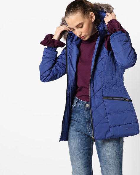 Hooded Quilted Jacket By Fort Collins ( Royalblue )