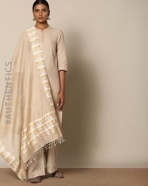 Handloom Pure Silk Spun Muga Kadiyal Dupatta By Indie Picks ( Beige )