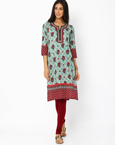 Printed Straight Kurta By Rangriti ( Green )