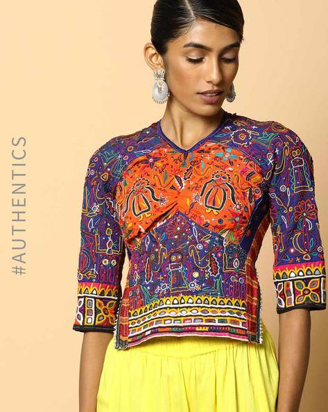 Kutch Embroidered Backless Blouse By Indie Picks ( Multi ) - 460103670001
