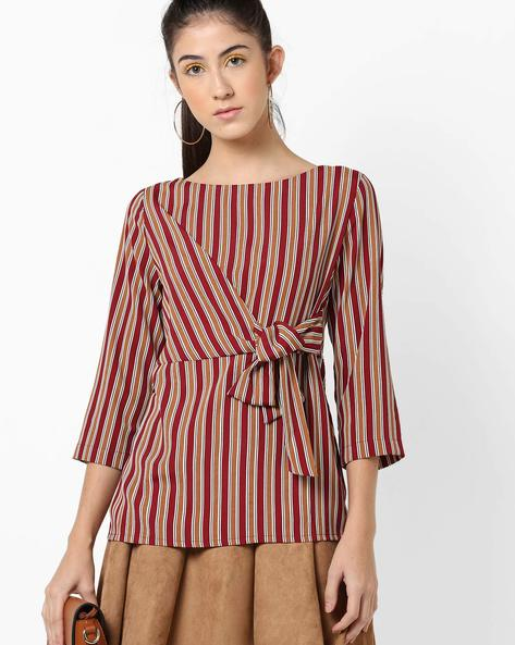Boat-Neck Top With Waist Tie-Up By AJIO ( Red )