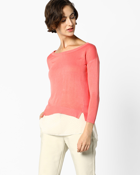 High-Low Layered Top By CODE By Lifestyle ( Pink )