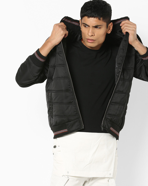 Hooded Jacket With Quilted Panels By Fort Collins ( Black )