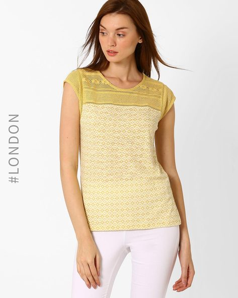 Printed T-shirt With Crochet Detail By Marks & Spencer ( Gold )