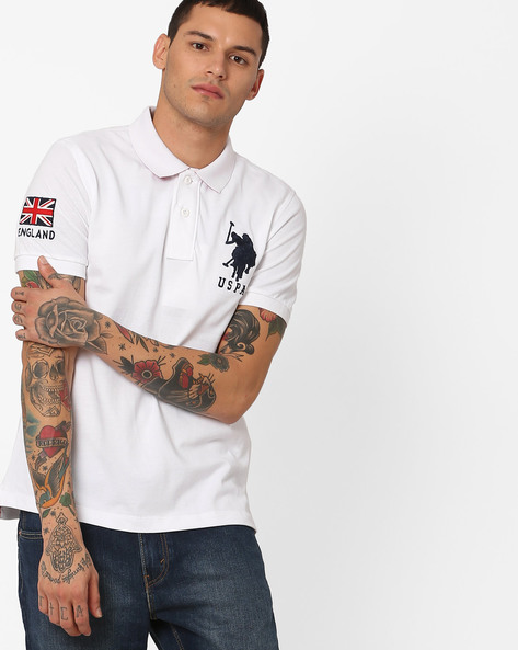Polo T-shirt With Embroidered Back Patch By US POLO ( Assorted )