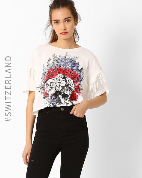 Graphic Print T-shirt With Fringe Detail By TALLY WEiJL ( Offwhite )