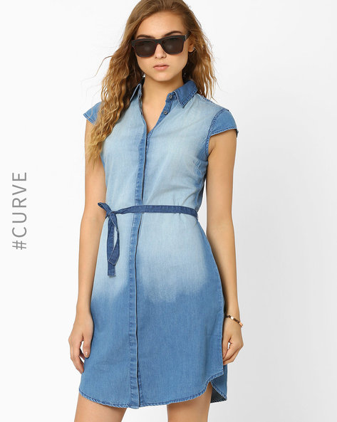 Denim Shirt Dress By AJIO ( Blue )