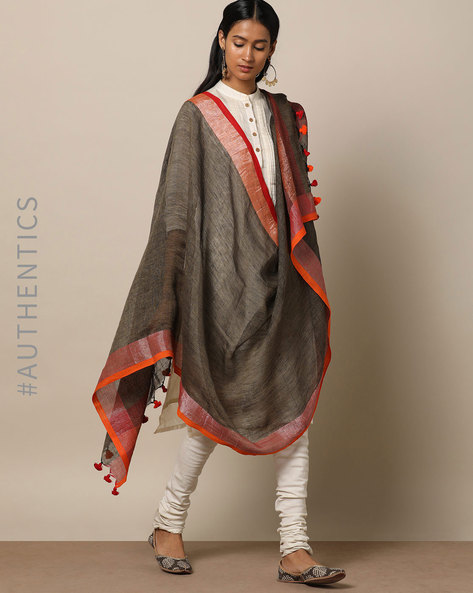 Handloom Linen Dupatta With Pom-Pom Detail By Indie Picks ( Charcoal )