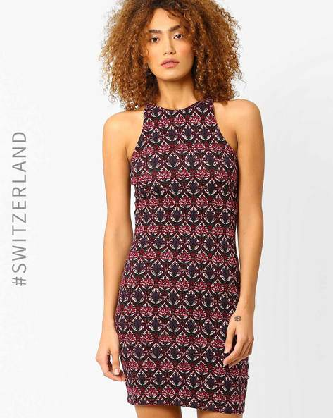 Printed Bodycon Dress With Cut-Away Shoulders By TALLY WEiJL ( Multi )
