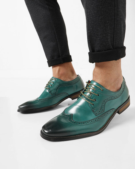 Ombre-Dyed Brogue Shoes By AJIO ( Green )