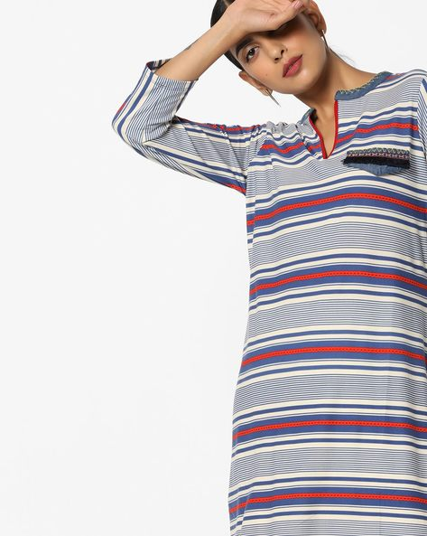 Striped Tunic With Applique By FUSION BEATS ( Blue )