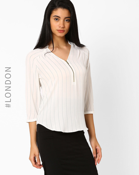 Striped Top With Front Zip By Marks & Spencer ( White )