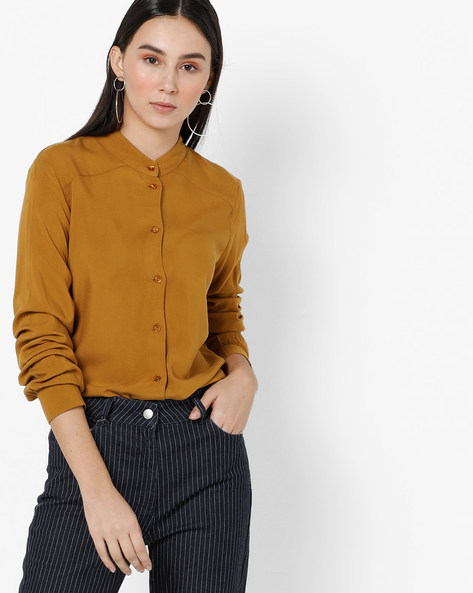 Shirt With Band Collar By Only ( Mustard )