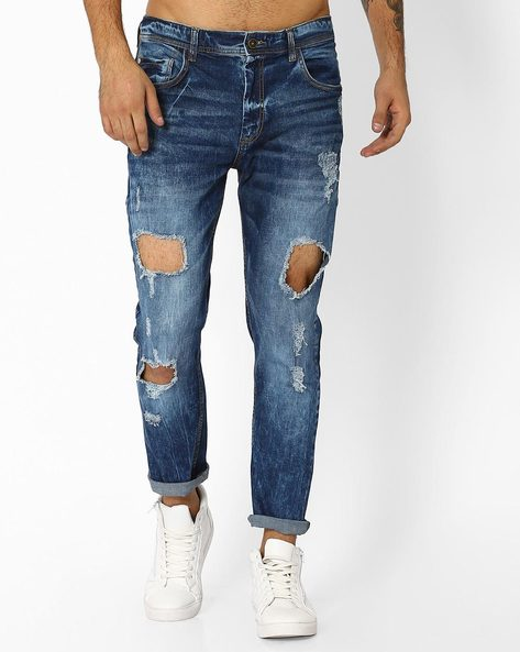 Mid-Wash Heavily Distressed Jeans By ADAMO LONDON ( Navyblue )