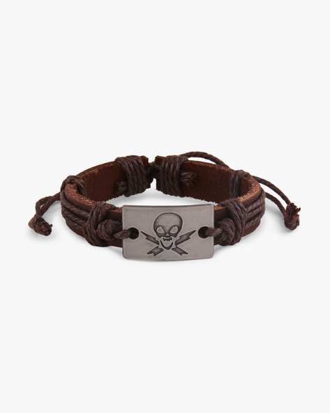 Faux-Leather Bracelet With Skull Metal Accent By ALPHA MAN ( Brown )