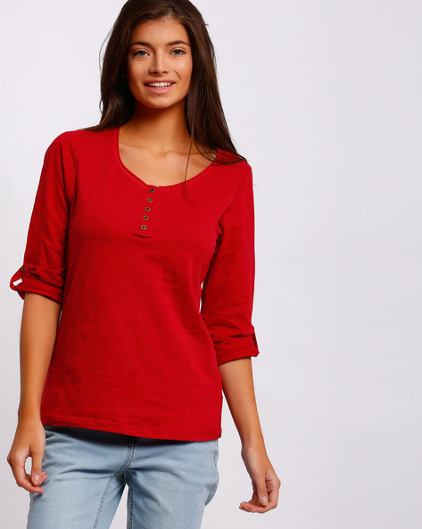 Henley T-shirt With Roll-Tab Sleeves By FIG ( Red )