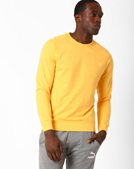 Crew-Neck Core Regular Fit Sweatshirt By AJIO ( Yellow )
