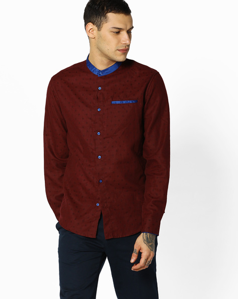 Patterned Slim Shirt By The Indian Garage Co ( Maroon )