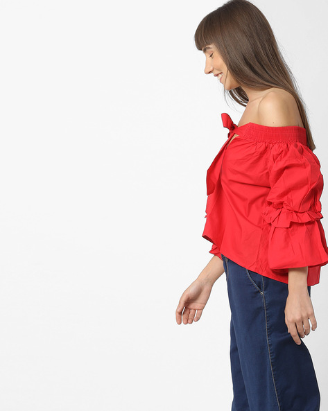 Off-Shoulder Top With Tie-Up Neckline By Ginger By Lifestyle ( Red )