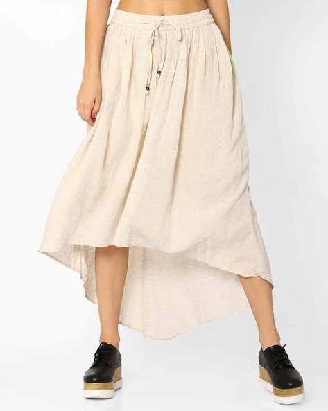 Skirt With Asymmetric Hem By Global Desi ( Natural )