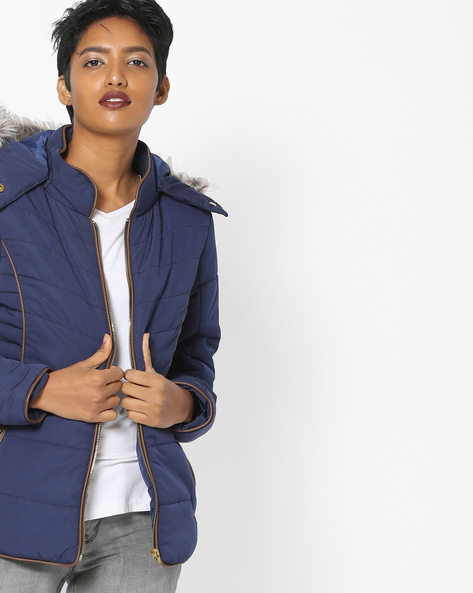 Hooded Quilted Jacket By Fort Collins ( Navy ) - 460108318012
