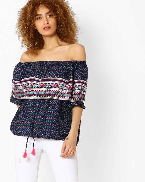 Printed Off-Shoulder Layered Top By RIO ( Navy )