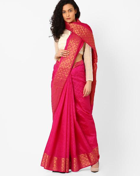 Handloom Saree With Contrast Border By Pihu ( Magenta )